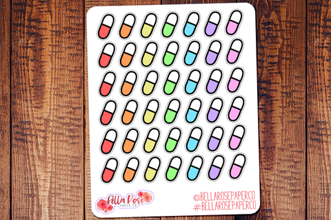 Medication Icon Doodle Hand Drawn Planner Stickers