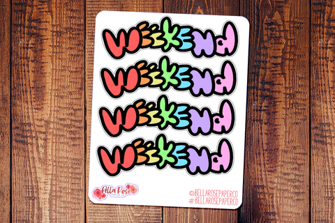 Weekend Banner Doodle Hand Drawn Planner Stickers