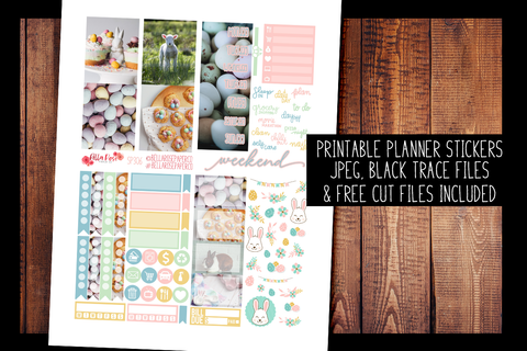 Easter Day Photo Mini Planner Kit | PRINTABLE PLANNER STICKERS