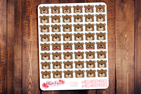 Bear Emoti Character Planner Stickers E009