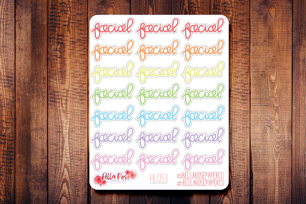 Facial Lettering Planner Stickers HL053