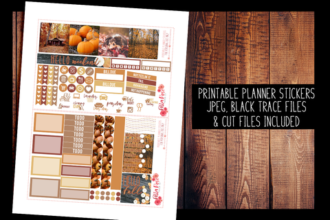 Autumn Photography Mini Happy Planner Kit | PRINTABLE PLANNER STICKERS