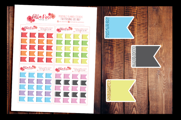 Glitter Flags | PRINTABLE PLANNER STICKERS
