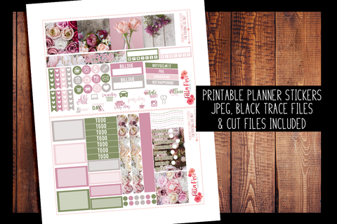 Vintage Floral Photo Mini Happy Planner Kit | PRINTABLE PLANNER STICKERS