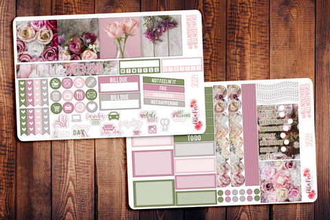 Vintage Floral Photo Mini Happy Planner Sticker Kit SP204