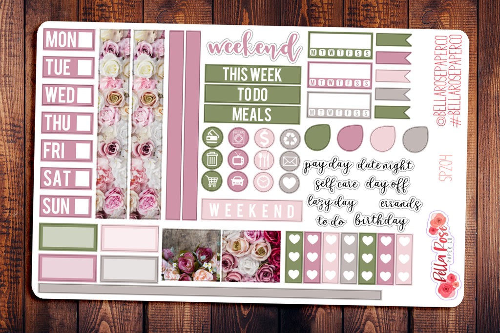 Vintage Floral Photo Hobonichi Weeks Sticker Kit SP204