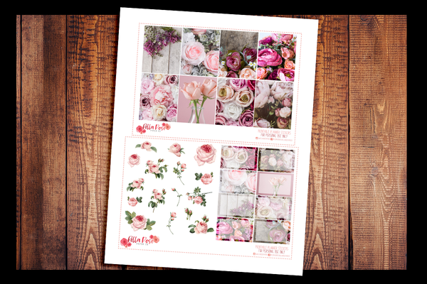 Vintage Floral Photo Planner Kit | PRINTABLE PLANNER STICKERS