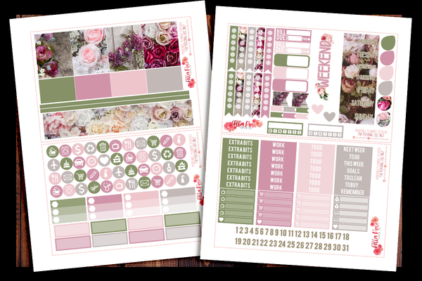 Vintage Floral Photo Happy Planner Kit | PRINTABLE PLANNER STICKERS