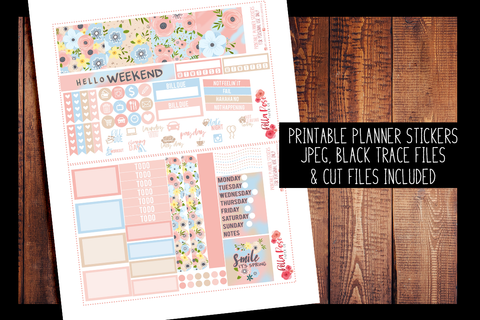 Spring Florals Mini Happy Planner Kit | PRINTABLE PLANNER STICKERS