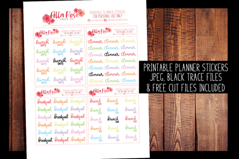Foods Hand Lettered Planner Stickers | PRINTABLE PLANNER STICKERS