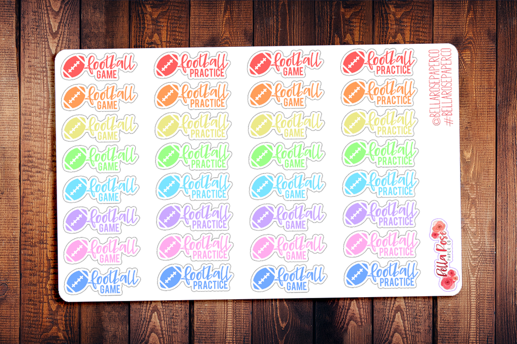 Football Game and Football Practice Lettering Planner Stickers DI091