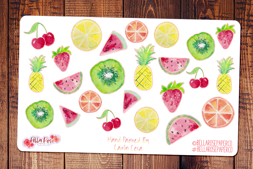 Summer Fruits Hand Painted Watercolor Planner Stickers