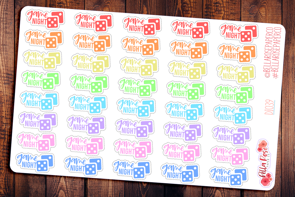 Board Game Night Lettered Planner Stickers DI039