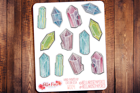 Gems Hand Painted Watercolor Planner Stickers W004