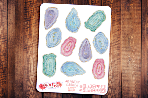 Geodes Hand Painted Watercolor Planner Stickers W007