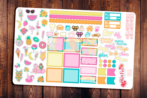 Summer Getaway Hobonichi Weeks Sticker Kit SM205