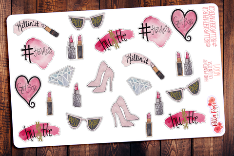 GirlBoss Hand Painted Watercolor Planner Stickers W001