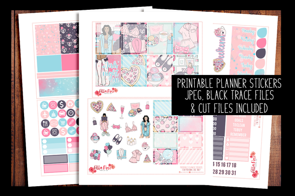 Girls' Night In Planner Kit | PRINTABLE PLANNER STICKERS