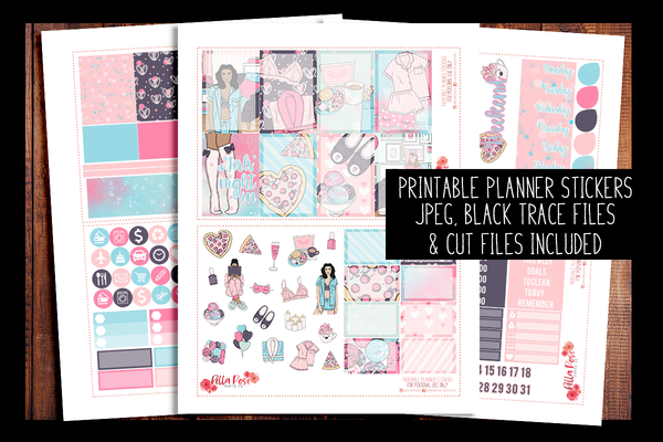 Girls' Night In Happy Planner Kit | PRINTABLE PLANNER STICKERS