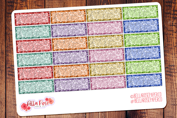 Glitter Quarter Boxes Planner Stickers