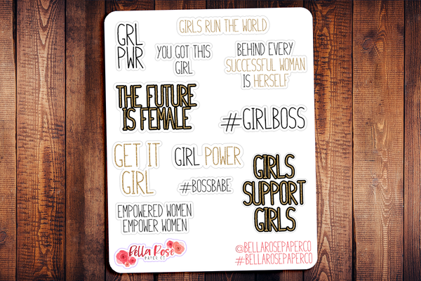 Girl Power Quotes Planner Stickers BD002