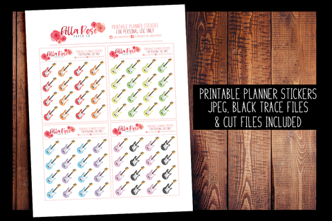 Guitar Planner Stickers | PRINTABLE PLANNER STICKERS