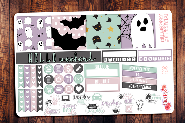 Pastel Halloween Mini Happy Planner Sticker Kit F208