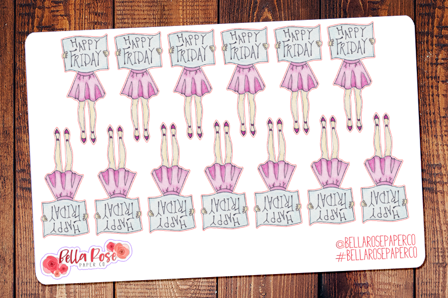 Happy Friday Girls Hand Painted Watercolor Planner Stickers