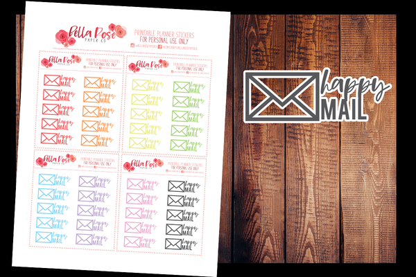 Happy Mail Planner Stickers | PRINTABLE PLANNER STICKERS
