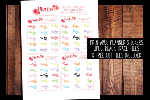 Appointments Hand Lettered Planner Stickers | PRINTABLE PLANNER STICKERS