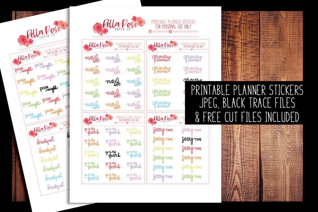 Hand Lettered Planner Stickers | PRINTABLE PLANNER STICKERS