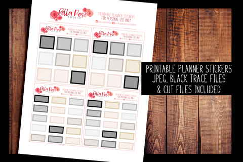 Hobonichi Weeks Neutral Boxes Planner Stickers | PRINTABLE PLANNER STICKERS