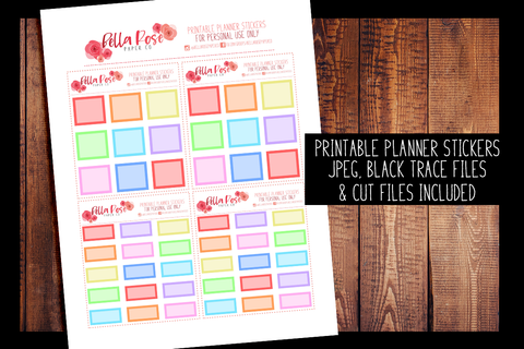 Hobonichi Weeks Rainbow Boxes Planner Stickers | PRINTABLE PLANNER STICKERS