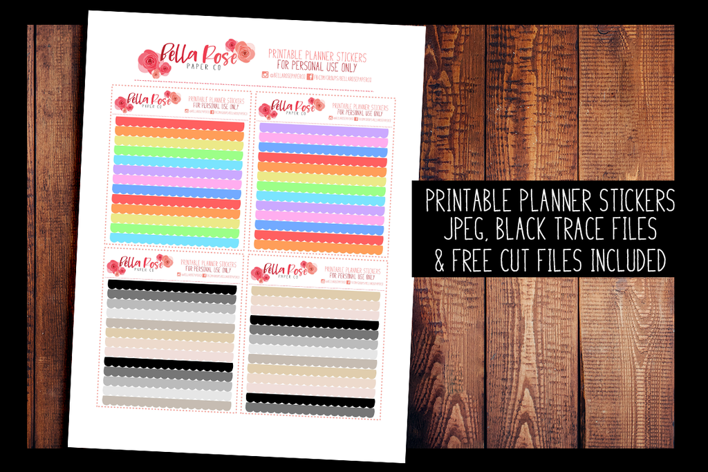 Hobonichi Weeks Scalloped Divider Planner Stickers | PRINTABLE PLANNER STICKERS