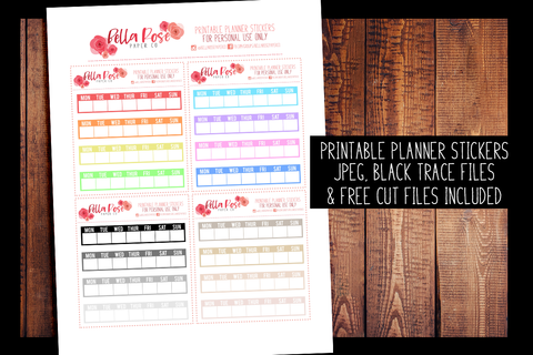 Hobonichi Weeks Weekly Tracker Planner Stickers | PRINTABLE PLANNER STICKERS