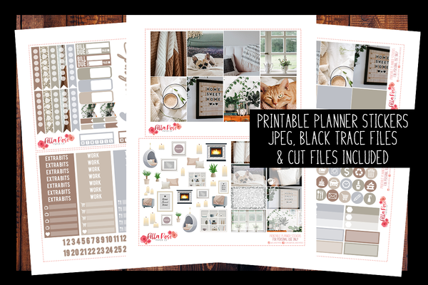 Stay Home Photo Planner Kit | PRINTABLE PLANNER STICKERS