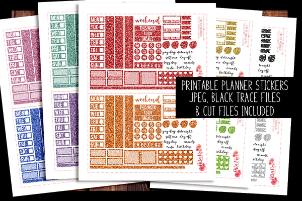 Hobonichi Weeks Gllitter Rainbow Sampler Kit Planner Stickers | PRINTABLE PLANNER STICKERS