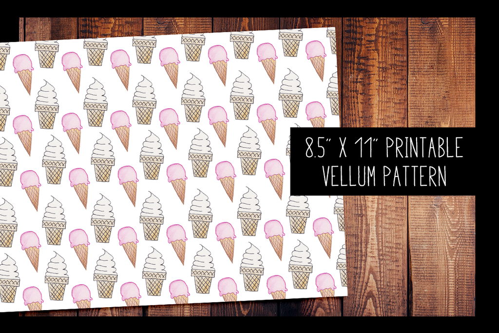 Hand Painted Ice Cream Cone Watercolor Vellum | PRINTABLE VELLUM PATTERN
