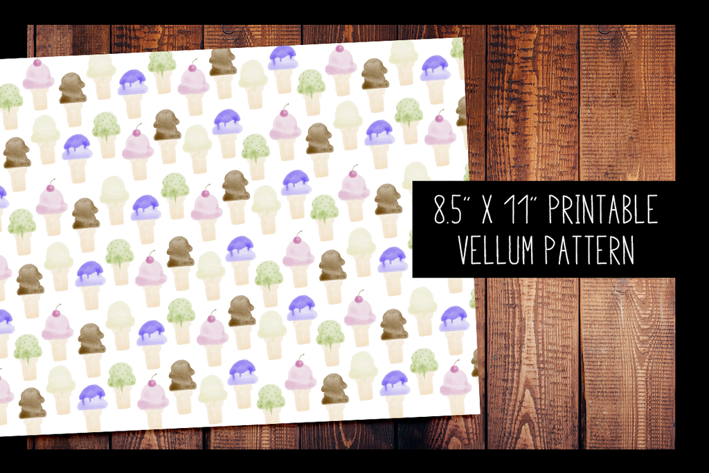Watercolor Ice Cream Vellum | PRINTABLE VELLUM PATTERN