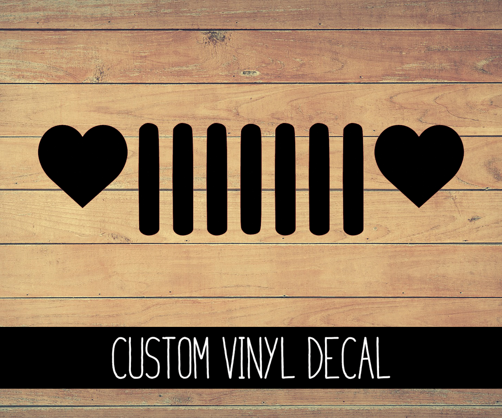 Jeep Heart Grill Vinyl Decal