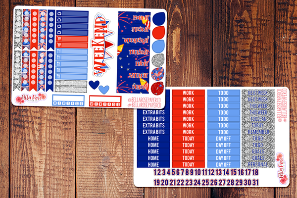 Stars and Stripes/ 4th of July Planner Sticker Kit