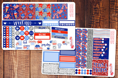 Stars and Stripes/ 4th of July Mini Happy Planner Sticker Kit