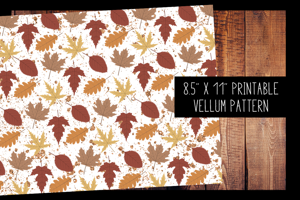 Glitter Autumn Leaves Vellum | PRINTABLE VELLUM PATTERN