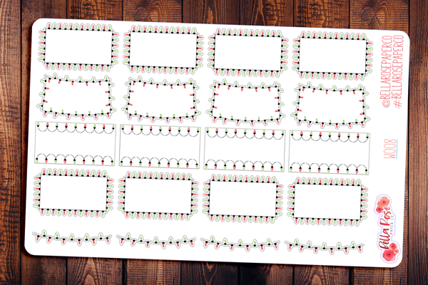 Christmas Lights Holiday Halfbox Planner Stickers W008