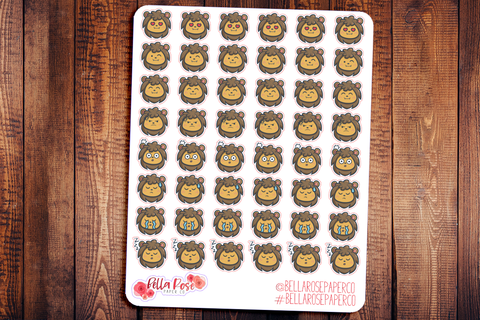 Lion Emoti Character Planner Stickers E002