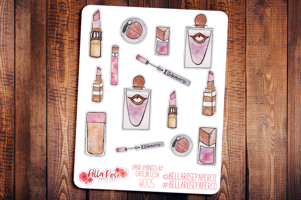 Makeup Items Hand Painted Watercolor Planner Stickers W005