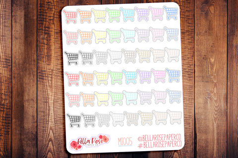 Shopping Cart Mini Icon Planner Stickers MI005