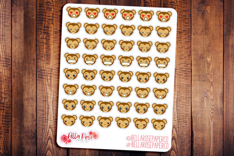 Monkey Emoti Character Planner Stickers E004