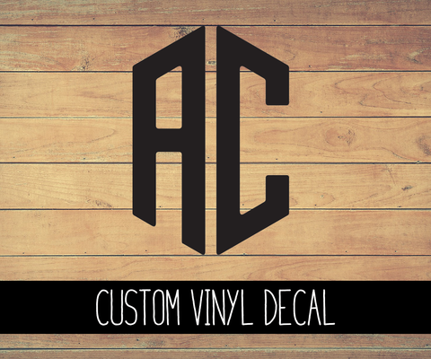 Custom 2 Initial Monogram Vinyl Decal