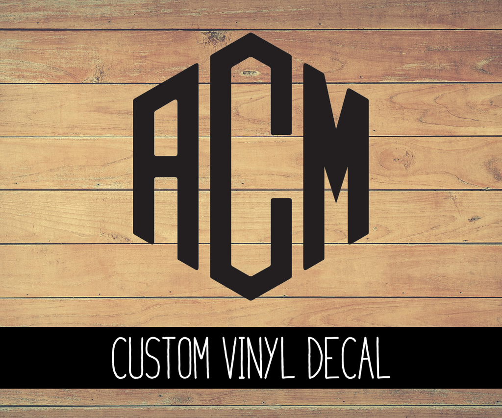 Custom 3 Initial Monogram Vinyl Decal